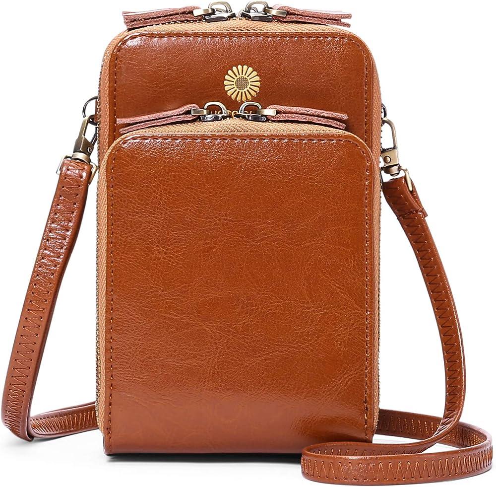 Sendefn borsa portafoglio porta carte di credito porta cellulare a tracolla in pelle per donna 6426A