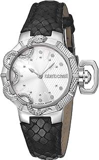 ROBERTO CAVALLI Women's RC-60 Stainless Steel Swiss Quartz Watch with Leather Calfskin Strap, Black, 22 (Model: RV1L069L0016)