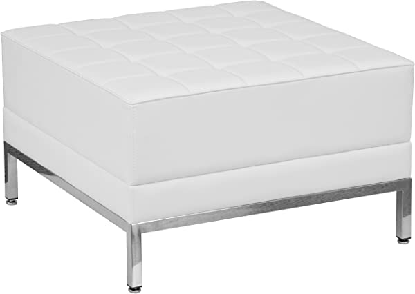 Flash Furniture HERCULES Imagination Series Melrose White Leather Ottoman