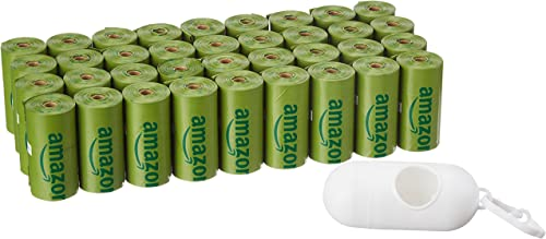 AmazonBasics Enhanced Dog Waste Bags with Dispenser and Leash Clip - 540 Count, 9 x 13 Inches, Cucumber Scented