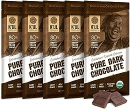 K'UL CHOCOLATE Bars   5 Pack Chocolate   80% Cacao Single-Origin Pure Dark Chocolate   Organic, Soy-Free, Vegan, Gluten-Free, Non-Gmo, Direct Trade Dark Chocolate   2.8oz Each