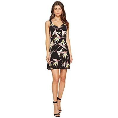 1.STATE Wide Strap V-Neck Shift Dress (Rich Black) Women