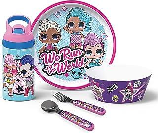 Zak Designs L.O.L. Surprise! Series Kids Plate, Bowl, Water Bottle & Flatware Set, Series 1-3 Characters, 5-piece set