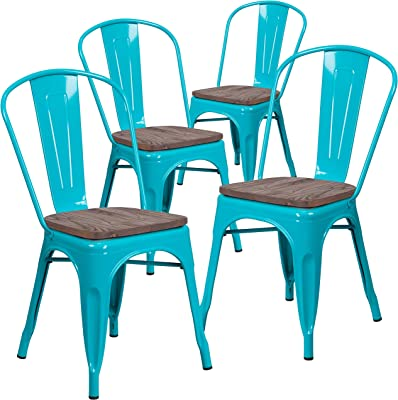 Flash Furniture 4 Pk. Crystal Teal-Blue Metal Stackable Chair with Wood Seat
