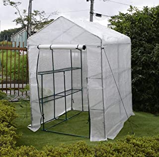 園芸用菜園ハウス 中 長さ143×幅143×高さ195cm 菜園ビニールハウス 温室ビニールハウス...