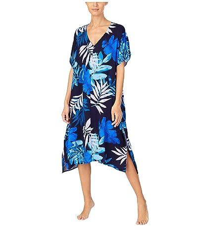 Donna Karan Viscose Sleepwear Plain Weave Caftan (Ink Tropical) Women