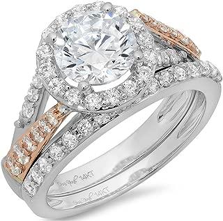 1.8 CT Round Cut Pave Halo Bridal Engagement Wedding Ring Band Set 14k White Rose Gold