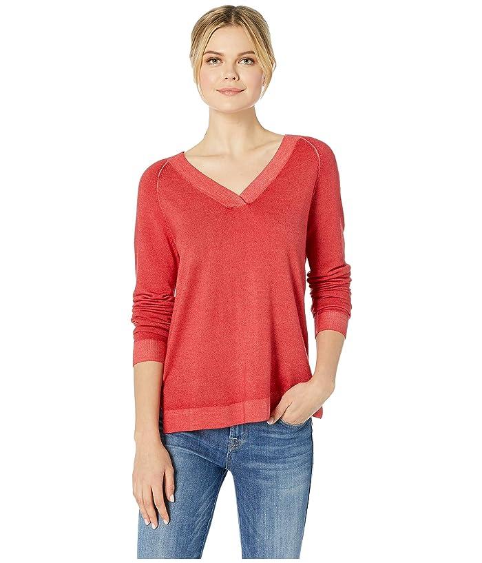 Pendleton Long Sleeve Magic Wash Merino V-Neck (Aurora Red) Women