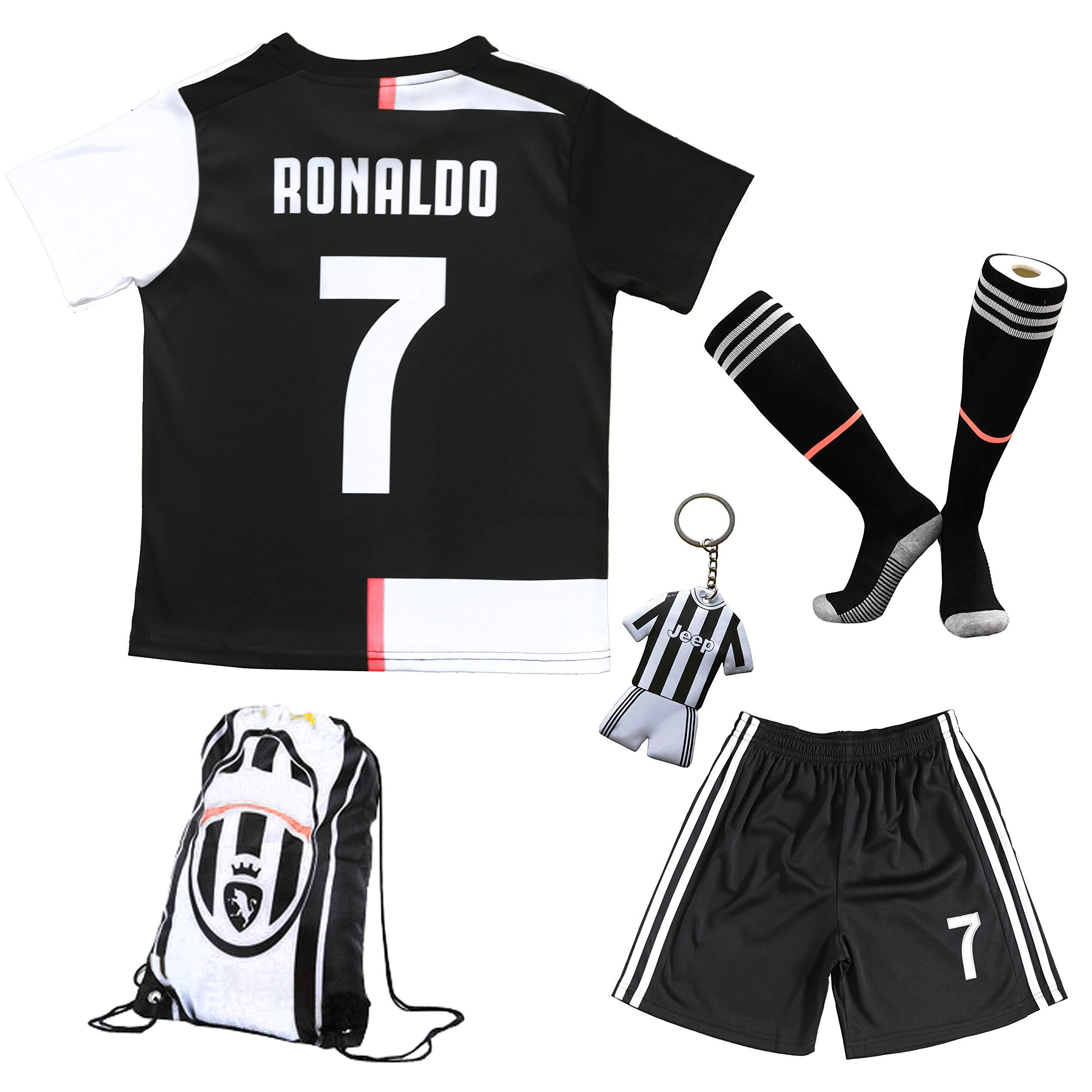 BIRDBOX 青年运动装 C.Ronaldo 7 儿童家居足球运动衫/短裤包钥匙扣足球袜套装