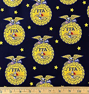 1 Yard - FFA Emblem on Dark Blue Cotton Fabric (Great for Quilting, Sewing, Craft Projects, Throw Pillows & More) 1 Yard x 44