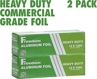 Heavy Duty Aluminum Foil Wrap, Commercial Grade 1000ft Foil Wrap for Food Service Industry, Strong Silver foil, 12 inches by 1000 Feet (2-Boxes)