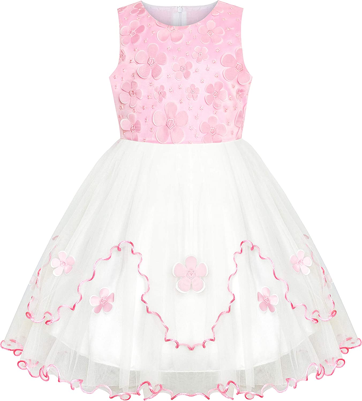 Sunny Fashion Flower Girls Dress Pink White Wedding Party Bridesmaid Size 6-12