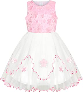 Sunny Fashion Flower Girls Dress Pink White Wedding Party Bridesmaid Size 6-12 Years