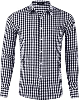 XI PENG Men's Slim Fit Plaid Checkered Gingham Long Sleeve Dress Shirts
