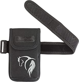 Herd Head Cell Phone Holster for Riders and Hikers w/Interior Pocket, Magnetic Closure & Non-Slip Band | Slim Smartphone Holder Designed to be Worn Just Below The Knee Fits All Phones (Black w/Horse)