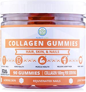 Collagen Gummies for Men and Women's Hair, Skin, and Nails -90ct- Joint Care Vitamin Supplement for Anti-Aging - Hydrolyzed Non Gelatin Non-GMO All Natural Supplement Kosher and Halal with Low Sugar