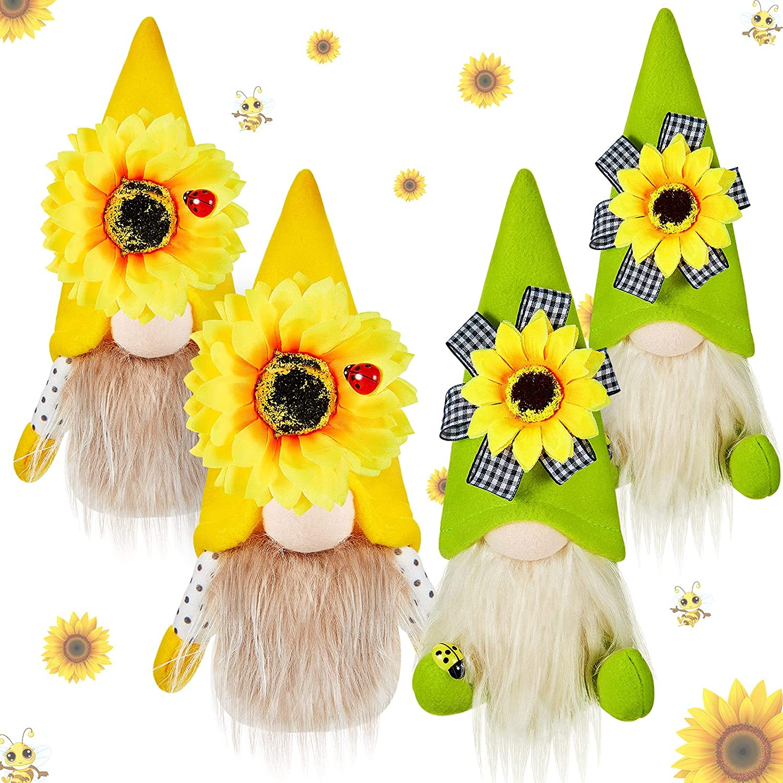 4 Piece Sunflower Gnomes Plush Gnome Elf Dwarf Home Household Decor Spring Hat Handmade Scandinavian Dwarf Collective Figurine for Holiday Home Decoration