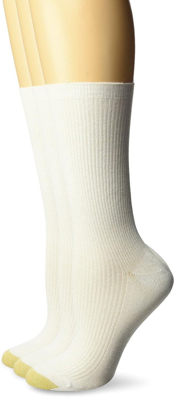 Gold Toe Women's Non-Binding Ribbed Crew Socks, 3-Pairs