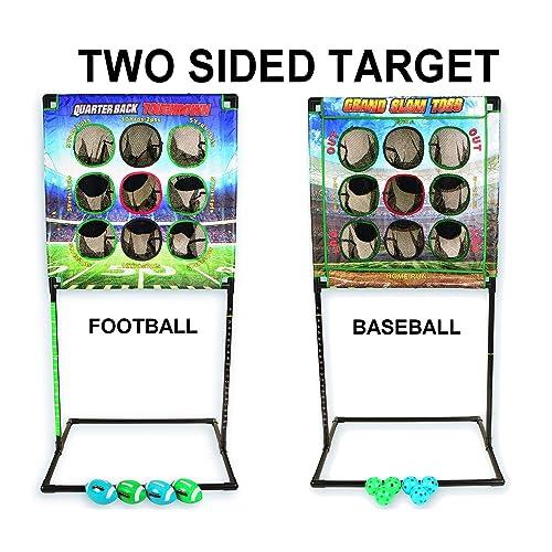 Kid Agains Indoor / Outdoor, Football / Baseball Combo Set Quarterback Touchdown/Grand Slam Toss Challenge & Skills Game