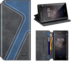 Smiley Sony Xperia XA2 Wallet Case, Mobesv Sony Xperia XA2 Leather Case/Phone Flip Book Cover/Viewing Stand/Card Holder for Sony Xperia XA2, Stylish Black/Dark Blue