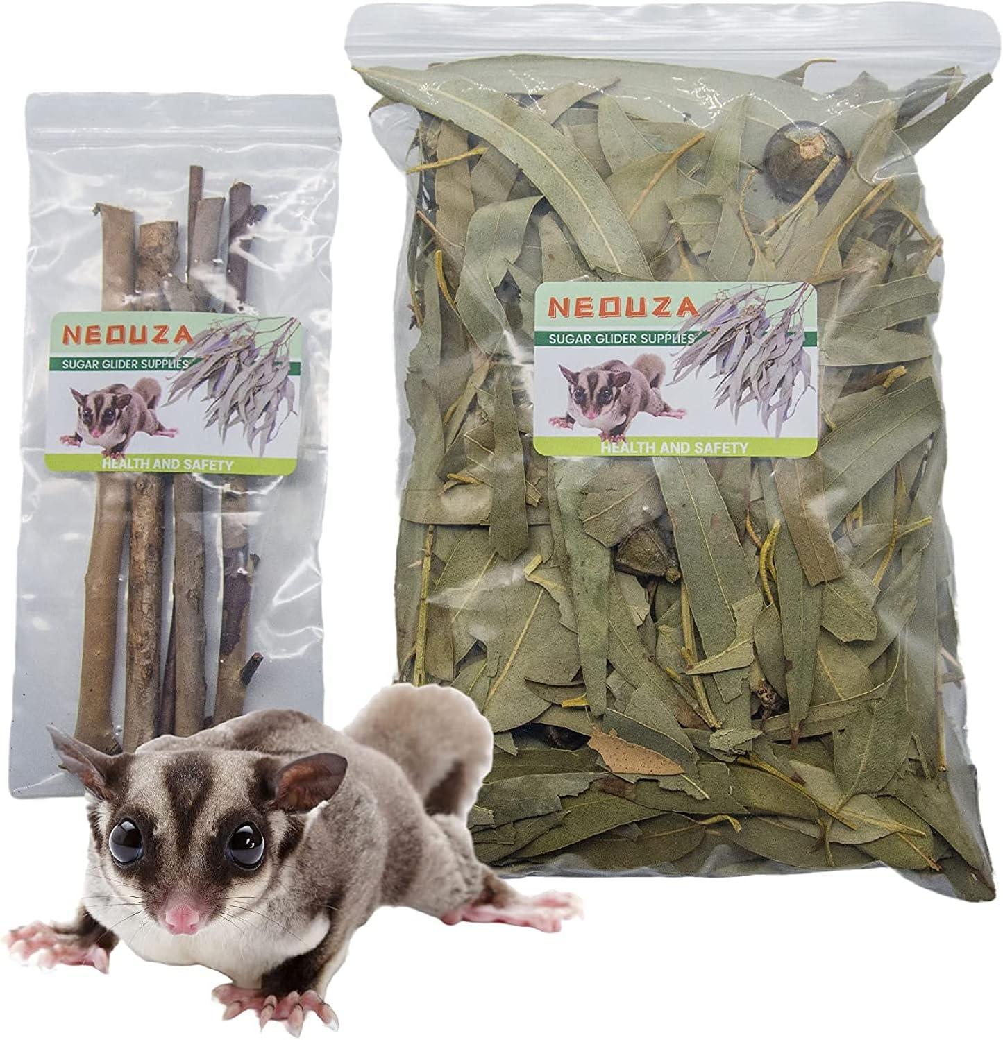 NEOUZA Azúcar Planeador de cama para animales pequeños, golosinas para masticar, juguetes molares, 200 g hojas de eucalipto secas naturales y ramitas (200 g de hojas de eucalipto)
