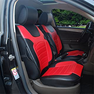 Protech Auto 180208S Black/red-2 Front Car Seat Cover Cushions Leather Like Vinyl Fit for Nissan Altima 370Z Armada Frontier Juke Leaf March Maxima Pathfinder Rogue Quest Sentra Tiida Versa X-Trail