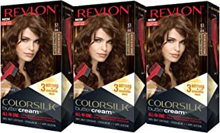 Revlon Colorsilk Buttercream Hair Dye, Medium Golden Brown, Pack of 3