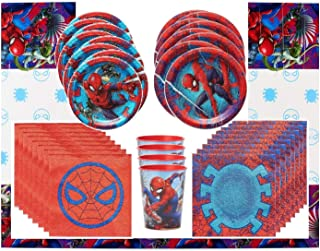 Spiderman 2 Party Supplies Tableware Bundle Pack for 8 Guests - Includes 8 Dinner Plates, 8 Dessert Plates, 8 Reusable Plastic Cups, 16 Dinner Napkins, and 1 Tablecover
