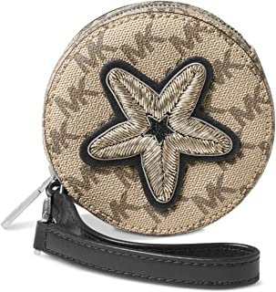 71996b11a86b MICHAEL Michael Kors Womens Faux Leather Applique Coin Purse Beige Small