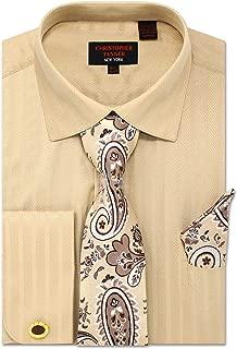 Men's Solid Striped Herringbone Striped Pattern Regular Fit Dress Shirts with Tie Hanky Cufflinks Combo