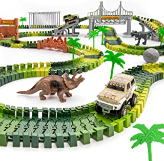 JITTERYGIT Dinosaur Train Track Toy Jurassic Escape World Build An Adventure Park Fun Race Car Set Awesome Gift for Kids S...