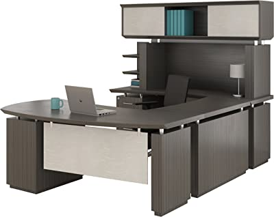 Mayline Sterling Series U Shaped Right Handed Desk System with Bridge and Credenza Box/Box/File and File/File Pedestal and Non-Handed Hutch,