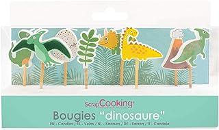SCRAP COOKING 5034 Kit de 8 Bougies Dinosaures-Décoration Bois Gâteau-Accessoire Dino Anniversaire Fête Enfant Cupcake Pât...