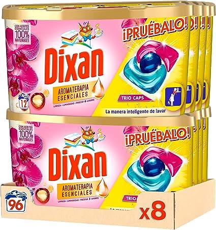 Dixan Detergente en Cápsulas para Lavadora Trio Caps Aromaterapia - Pack de 8x12D, Total 96 Lavados
