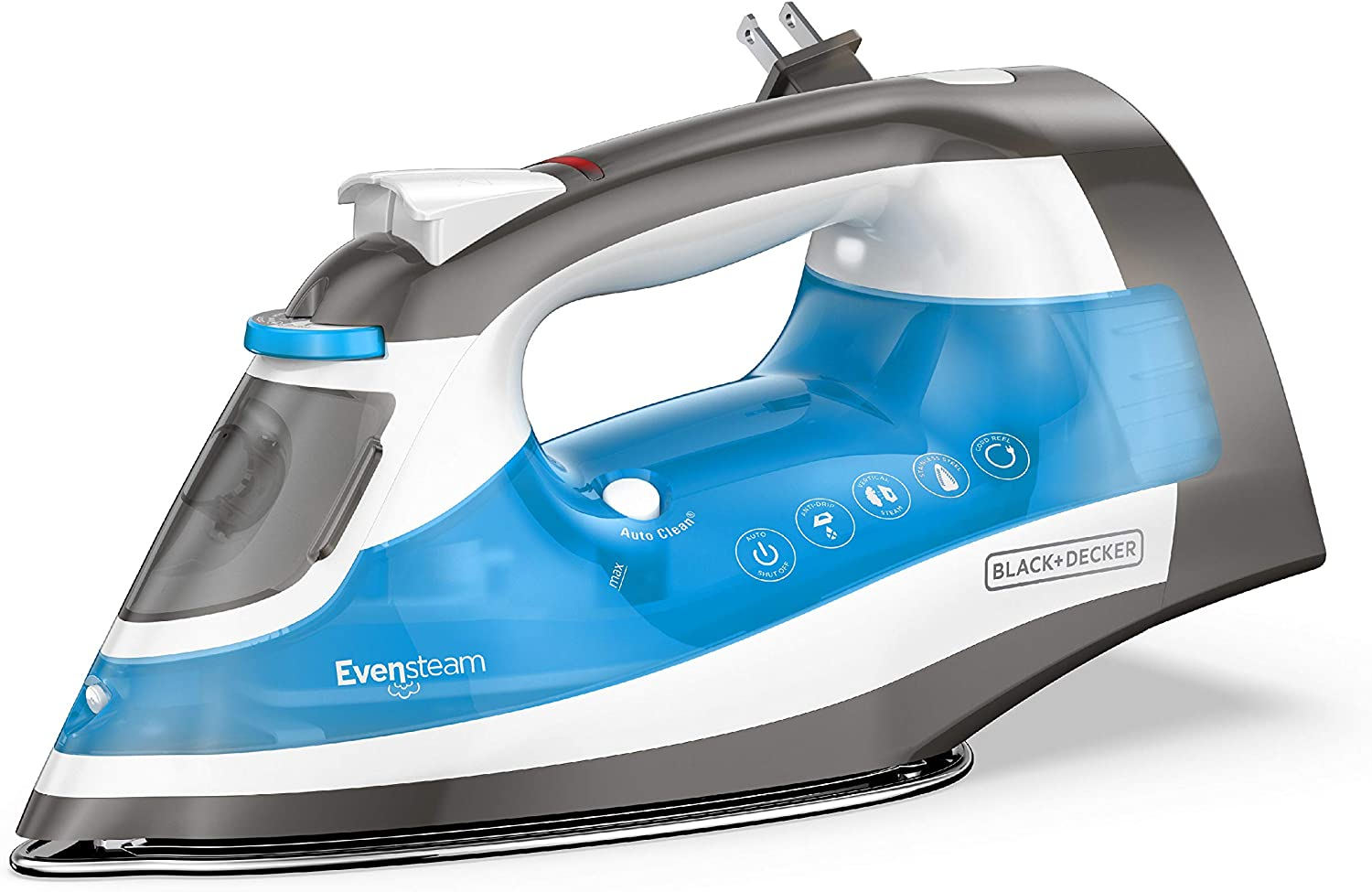 BLACK+DECKER ICR19XS One Step Steam Iron with Stainless Nonstick Soleplate and Cord Reel Size, Grey