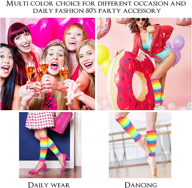 80's Women Knit Leg Warmers Crochet Ribbed Leg Socks for Party Accessories