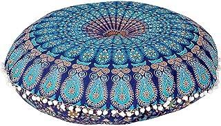 "MY DREAM CARTS 32"" Mandala Floor Pillow Cushion Meditation Seating Ottoman Throw Cover Hippie Decorative Round Bohemian Pouf Pom (Blue)"