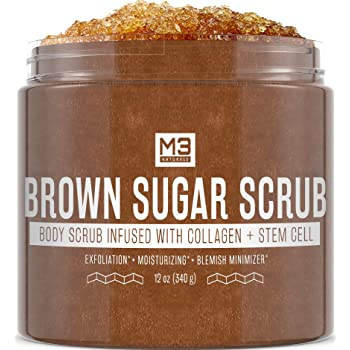 M3 Naturals Brown Sugar Scrub Infused with Collagen and Stem Cell Natural Souffle Body and Face Scrub for Acne Cellulite Stretch Marks Spider Veins Scars Wrinkles Skin Care Exfoliator 12 oz
