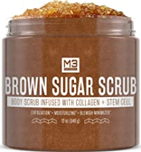 M3 Naturals Brown Sugar Scrub Infused with Collagen and Stem Cell Natural Body and Face Scrub for Acne Cellulite Stretch Marks Spider Veins Scars Wrinkles Skin Care Exfoliator 12 oz