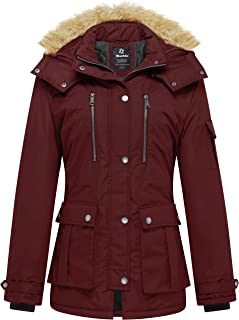 Wantdo Women's Thickened Parka Coat with Removable Fur Hood