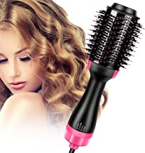 Hair Dryer Brush,Flymall One Step Hair Dryer & Volumizer Hot Air Brush 3-IN-1 negative ion Straightening, Curling, Fast Drying for Hair Styling, Reducing Frizz (black)