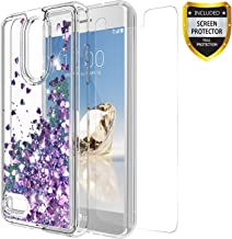 GORGCASE LG K30 Case, LG K10 2018 Case, LG Premier Pro LTE with Screen Protector, Slim Girly Bling Glitter Liquid Sparkle TPU Cute Protective Cover for Girls Women LG Phoenix Plus X410AS Purple