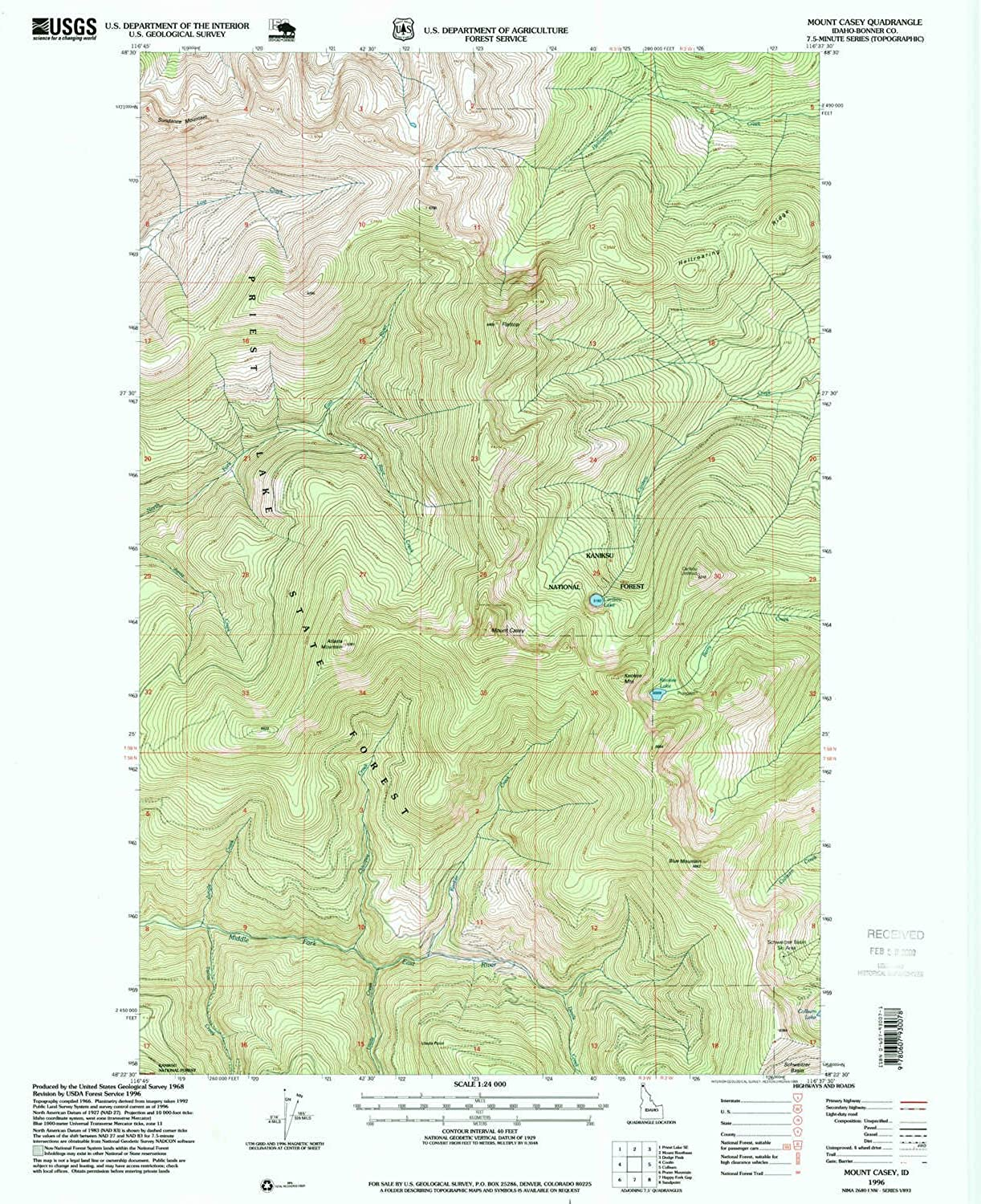 Mount Casey ID topo map, 1 24000 Scale, 7.5 X 7.5 Minute, Historical, 1996, Updated 1999, 26.9 x 22 in