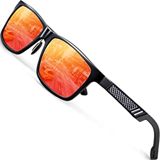 ATTCL - Hombre polarizado gafas de sol Al-Mg marco de Metal Ultra Light 6560red