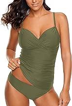 Lookbook Store Women's Ruched Wrap Front Tankini Set 2 Piece Swimsuit Beachwear