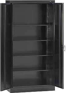 "Tennsco 7218 24 Gauge Steel Standard Welded Storage Cabinet, 4 Shelves, 150 lbs Capacity per Shelf, 36"" Width x 72"" Height x 18"" Depth, Black"