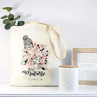 Tote bag Maitresse, Nounou ou ATSEM personnalisé (prénom) ton rose - Illustratrice française
