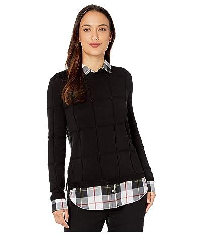 Foxcroft Petite Shoshana Sinclair Tartan Twofer Sweater (Black) Women