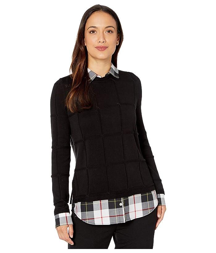 Foxcroft  Petite Shoshana Sinclair Tartan Twofer Sweater (Black) Womens Clothing