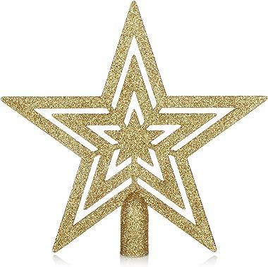 com-four® Dentelle pour Arbre de Noël étoile Scintillante - Dentelle pour Arbre de Noël - Dentelle pour Chaque Arbre de Noël